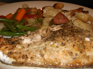 grilled fish with sides