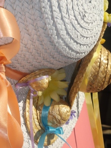 close-up side angle of spring hat wreath
