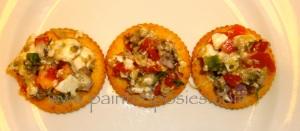 Roasted Eggplant Relish on Crackers