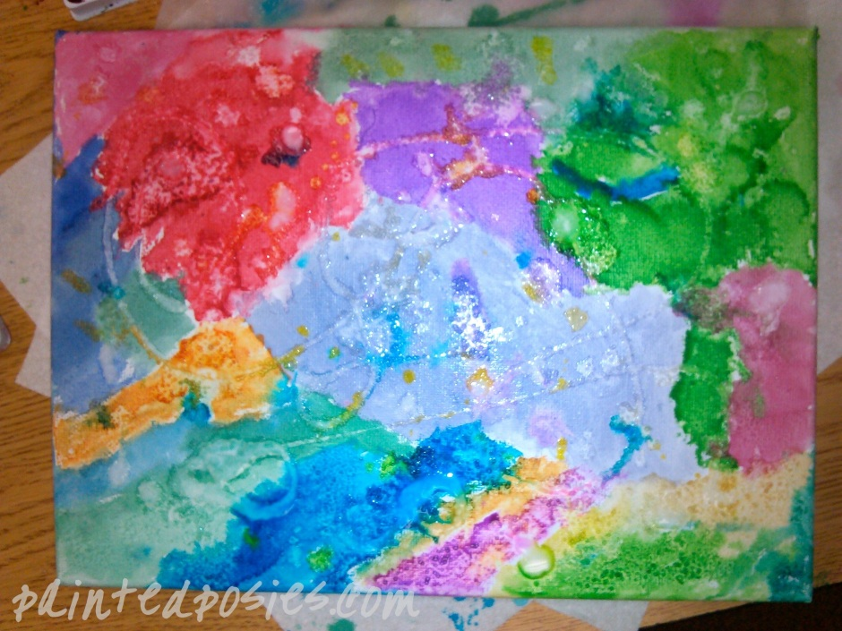 Watercolor, Salt and Glue Art