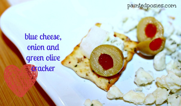 Blue Cheese, Onion and Green Olive Cracker