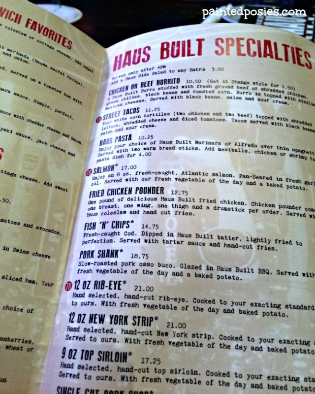 Inside Cave Creek Tap Haus Grill Menu