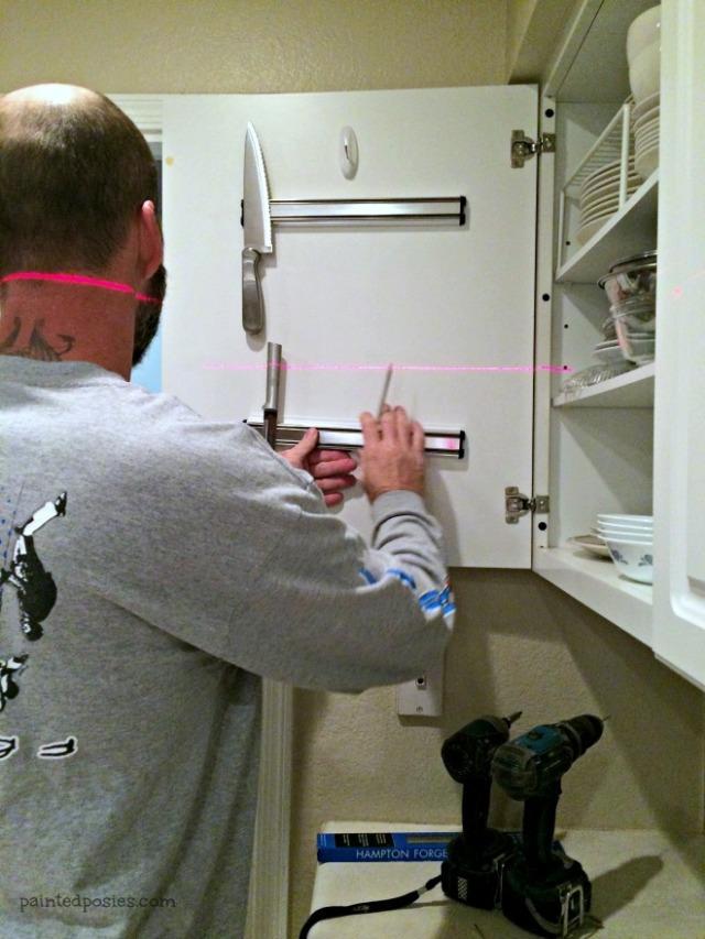 Hanging Knife Magnets Inside Cabinet Doors