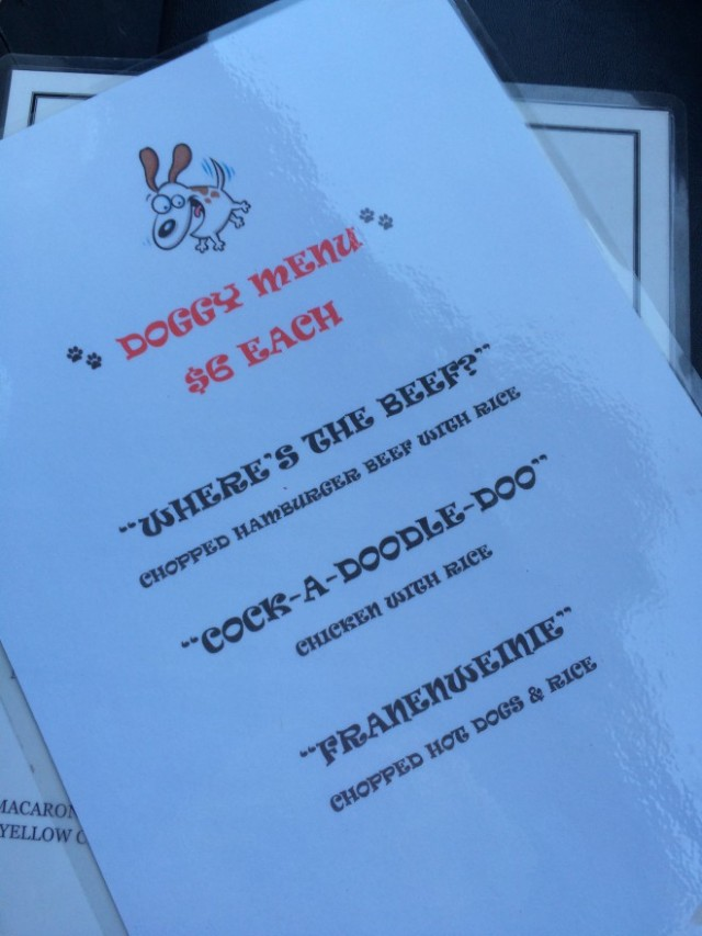 The Morrison Doggy Menu LA